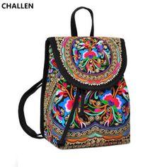 CHALLEN 2017 Ladies New Embroidery Unique Nice School Bag Women Ethinic Travel Rucksack Shoulder Bags CH002