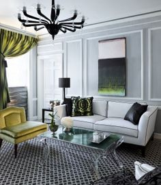 Simple Details: spring inspired decor...great furniture, love the modern art and the light fixture....chic and cool.