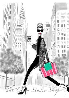 Ilustración Nueva York compras regalo Idea Fashionista Tiffany