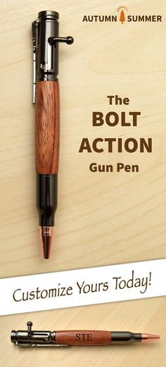 The perfect Gun Gift for Him - Custom Wood Bolt Action Pen with Mahogany wood, can be engraved with 2 lines of text for the perfect gift!  Shop now at: https://www.handmadeformen.com/products/bolt-action-wood-pens-bubinga