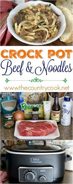 Crock Pot Beef & Noodles easy dinner recipe from The Country Cook. Chuck roast, frozen egg noodles and some other yummy ingredients make for a super flavorful meal. My family REALLY liked this one!