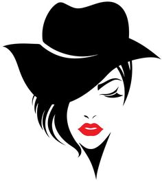 Imagens, fotos stock e vetores similares de illustration of women long hair with a hat, retro logo women face on white background, vector - 501309841 Portrait Silhouette, Silhouette Art, Art Sketches, Art Drawings, Abstract Portrait, Painting Abstract, Illustration, Arte Pop, Woman Face