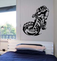 Dirt Bike Riding Wall Decal CHAMPION Sticker Art Decor Bedroom Design Mural  Vinyl BMX Sports Kids Room Motorcycle