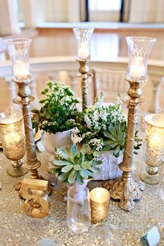 Mint and Gold Wedding Inspiration at the Biltmore Ballrooms with succulents and sequins - www.theperfectpalette.com - Lemiga Events, Melissa Prosser Photography