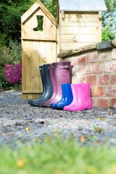 The Boot Store has an attractive boot cut-out and is neat and compact, perfect for putting next to entrance doors. It has ample capacity to store four pairs of adult welly boots with room to spare for other outdoor equipment such as umbrellas and dog leads. The timber used has been pressure treated, to protect it from rot and give it a guarantee for 15 years. Welly Boots, Boots Store, Forest Garden, Entrance Doors, 15 Years, Umbrellas, Rubber Rain Boots, Compact, Pairs