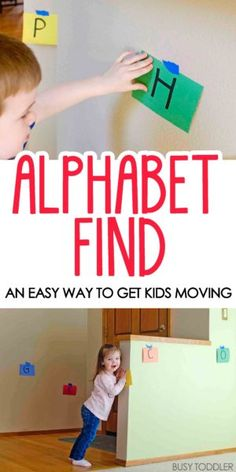 ALPHABET FIND: A quick and easy activity for toddlers; this activity will get kids moving and learning; kids will love this fun indoor activity that's great for learning letter names and letter sounds