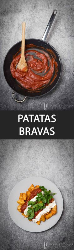 Patatas Bravas - {NEW RECIPE} Patatas Bravas is a Spanish tapas recipe comprising crispy cubed potatoes serves with a spicy tomato sauce, and aioli or mayonnaise.