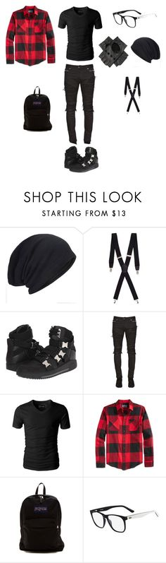 """""""Untitled #739"""" by jamison24 on Polyvore featuring Merona, Dsquared2, Balmain, American Rag Cie, JanSport, Lacoste, Black, men's fashion and menswear"""