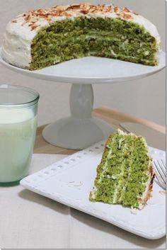 Pistachio Cake with Greek Yogurt & Coconut Icing