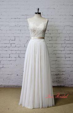 Champagne Underlay Wedding Dress Bateau Neck Wedding by LaceBridal