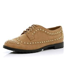 Brown studded lace up brogues £35.00