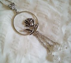Vintage Rose Circle Pendant With Crackle Glass Beads  Free Shipping by PersnicketyPatty on Etsy