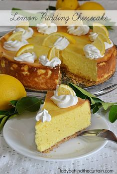Lemon Pudding Cheesecake — The creaminess of this cheesecake can't be beat along with the light flavor of lemon. Lemon Cheesecake, Cheesecake Recipes, Dessert Recipes, Cookbook Recipes, Light Cheesecake, Grub Recipes, Cheesecake Strawberries, Pie Dessert, Recipies