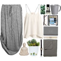 It's a grey jungle out there by vv0lf on Polyvore featuring H&M, Milly, Aesop and Vietri