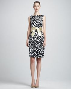 Sleeveless Dot-Print Bateau Dress & Metallic Leather Wide Tie Belt by St. John Collection at Neiman Marcus.