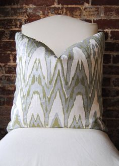 Ikat  Green and Silver Hand Print on Natural Linen by MarthaAndAsh, $70.00