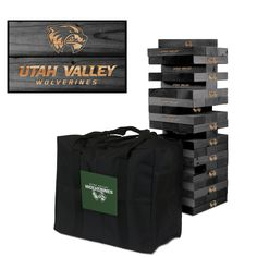 Show off your spirit with this GIANT tumble tower game!  Laser engraved with the team logo(s). Includes 54 solid wood game pieces that provides 18 vertical rows of tumbling tower fun. This set can be enjoyed at any outdoor or indoor party. Each wooden block measures 1.5 inches x 3.5 inches x 10.5 inches and the Tower Size is 10.5 inches x 10.5 inches x 27 inches. Plays up to 5ft or so before tumbling. Approximately 40 lbs. Includes the team carrying case! An officially licensed product.