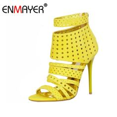 (37.75$)  Watch now  - ENMAYER Extreme High Heels Round Toe Zip Buckle Shoes Women Genuine Leather Sandals Hot Fashion Summer Women Pumps for Party