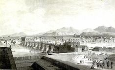 The Puente Grande (Great Bridge) spanning Pasig River in Manila, Philippines. A sketch by Fernando Brambila in 1794 as a member of the Malaspina Expedition. Back In Time, History Facts, Paris Skyline, Spanish, Bridge, Old Things, Manila Philippines, River, Grande