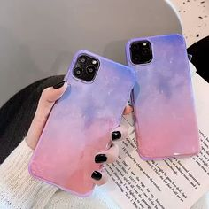Purple Pink Glitter Sky Laser Telephone Case For iPhone 11 Professional Max X XR XS 7 eight Plus Coque Fundas Cowl - Makeup - Beauty - Nail - Fashion - Hairstyles