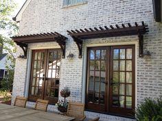 Trellis over French Doors Garage Trellis, Garage Pergola, Small Pergola, Pergola Patio, Pergola Kits, Pergola Ideas, Small Patio, Door Arbor, Exterior Remodel