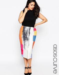 ASOS CURVE Midi Zip Front Pencil Skirt in Abstract Print (Plus Size)