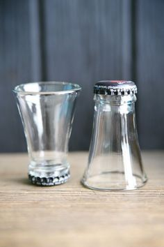 Shot glasses made from bottle necks... awesome...: