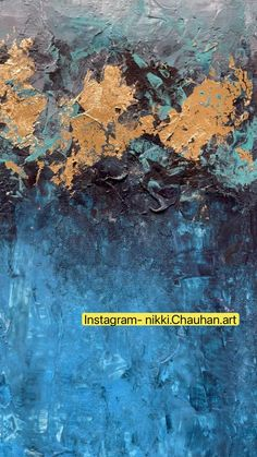 Abstract gold leaf painting, modern art on canvas, blue teal painting