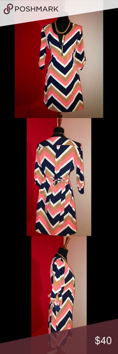 "Classic Chevron rayon dress Bold Chevron print dress. Gold zippered front design. Belt strap for closer waist fit. Size: S. Length: 36"" Beautiful bold colors! Dresses"