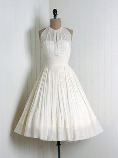 Cocktail Dress, Rappi: 1950's, beaded sheer fully-lined silk chiffon #partydress #dress #vintage #retro #elegant #romantic #classic #feminine #fashion #lace #bridal #wedding #highendvintage