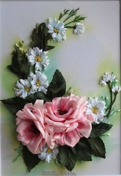 Wonderful Ribbon Embroidery Flowers by Hand Ideas. Enchanting Ribbon Embroidery Flowers by Hand Ideas. Ribon Embroidery, Ribbon Embroidery Tutorial, Ribbon Flower Tutorial, Hand Embroidery Kits, Embroidery Supplies, Embroidery Patterns, Embroidery Stitches, Ribbon Art, Ribbon Crafts