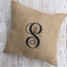 Customized burlap pillows make excellent housewarming or shower gifts.  Order today from Lightning Bug Gifts.