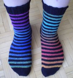 Rainbow Bright stripe socks by PlumTreeKnits on Etsy, $45.00