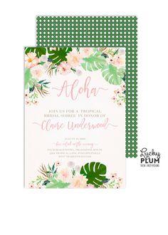 Tropical Bridal Shower Invitation / Flower by LuckyPlumStudio