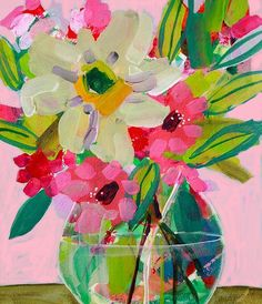 Items similar to Floral Giclee Fine Art, Made To Order Flower Painting Print, Impressionist Style, Green, White and Pink Modern Flowers by Amanda Evanston on Etsy Painting & Drawing, Painting Prints, Watercolor Paintings, Floral Paintings, Indian Paintings, Abstract Paintings, Oil Paintings, Landscape Paintings, Guache