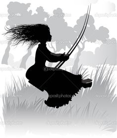Vector Silhouette of a little girl on a swing — Stock Vector © Ola ...
