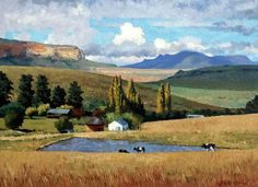 Roelof Rossouw African Paintings, Nature Paintings, Beautiful Paintings, Landscape Paintings, South Africa Art, South African Artists, Country Scenes, Painting Gallery, Pictures To Paint