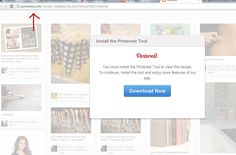 "Watch out for malicious pins that try to trigger the download of a ""Pinterest Tool."" Read more: http://bit.ly/JFFSOf"