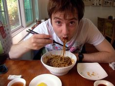 Eating jajangmyeon at my favorite Chinese restaurant in Busan, South Korea.