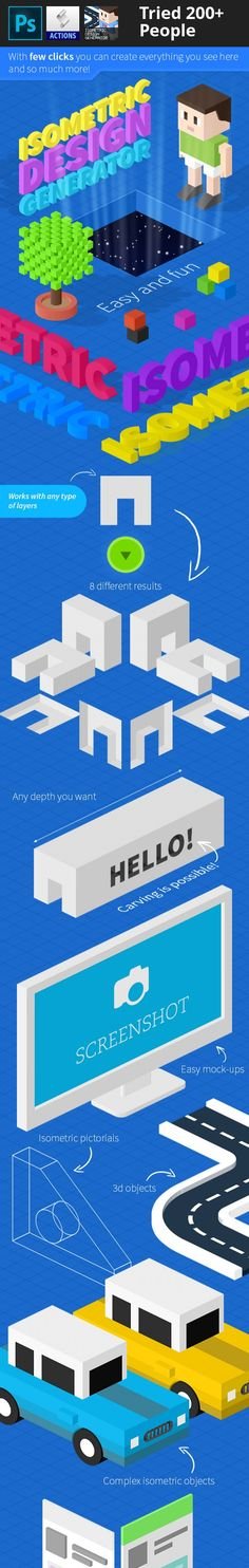 3d, 3d objects, action, app presentation, characters, easy, games, graphics, icons, infographics, isometric, isometric design, isometric Maps, isometric text, logos, map, mock-ups, perspective, photoshop, presentations, showcase, vector, web page Isometric Design Generator:     Isometric graphics are amazing, and now it's become easy and fun to make your own isometric design using this set of action, it's very easy to use, you can create anything you need: 3D Objects, Mock-ups, Charac...