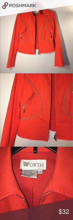 Worth jacket🌷 I love this jacket it is so stylish, you can dress it up and down. The zipper details bring life to it. It is gently used 🎀🎀 Worth Jackets & Coats Blazers