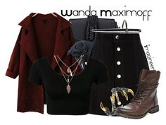 """Wanda Maximoff (Avengers: Age of Ultron)"" by claucrasoda ❤ liked on Polyvore featuring Altuzarra, DOMINIQUE LUCAS, AG Adriano Goldschmied, Tessa Metcalfe, Steve Madden and BackToSchool"