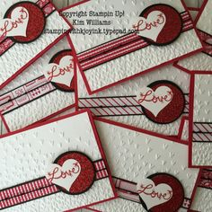 Stampin UP Love Sparkles stamp set. Kim Williams, Stampin with Kjoyink. Pink Pineapple Paper Crafts. New Occasions Catalog 2017, Valentine card made with Sending Love designer paper and Falling petals emboss folder. I love the new red glitter embossing powder and glimmer paper. Valentine ideas. Handmade Valentines