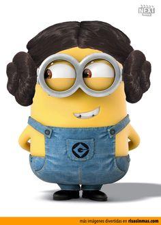 Minion disfrazado de Princesa Leia (Star Wars)