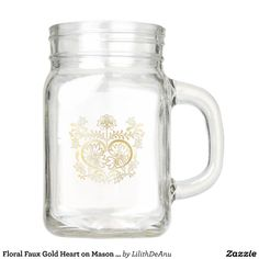 Floral Faux Gold Heart on Mason Jar