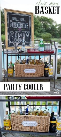 DIY Party Cooler Using Thrifted Wicker Basket