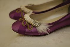 Marie Antoinette Shoes in purple with ivory and green. Really like how these turned out.