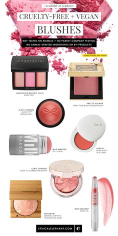 Cruelty-Free & vegan blush options available at Sephora! Not tested on animals, no parent company animal testing, no animal ingredients.