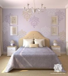 Allover Damask Ribbon Wall Stencils for Painting with Chalk Paint - Royal Design Studio