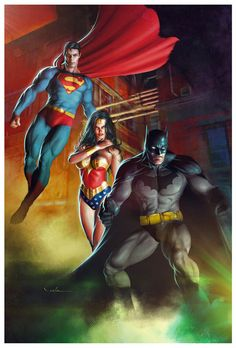 The DC Trinity: Superman, Wonder Woman and Batman by Carlos Valenzuela. Dc Heroes, Comic Book Heroes, Comic Books Art, Comic Art, Book Art, Comic Pics, Dc Comics Characters, Dc Comics Art, Marvel Dc Comics
